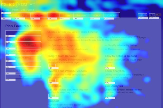 Website heat map