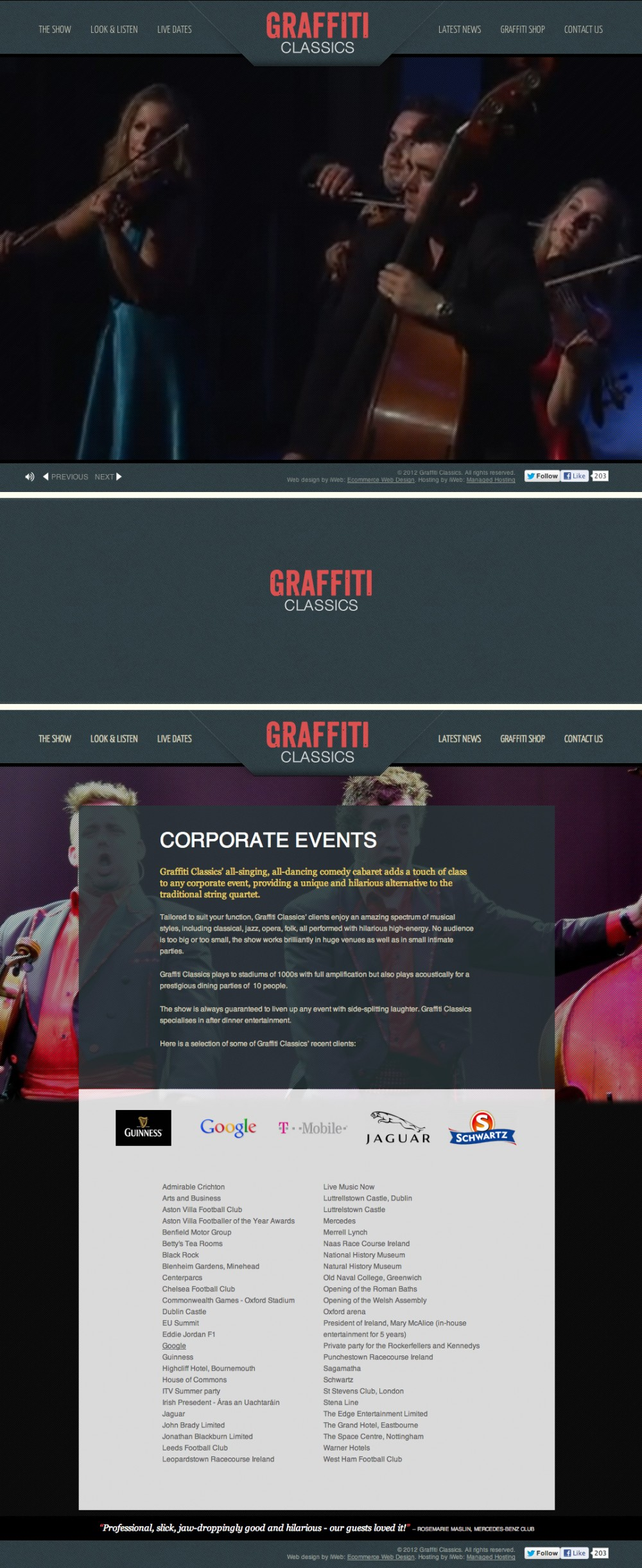 Unconventional classical music outfit inspires classic web design.