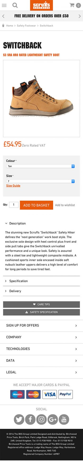 Scruffs WorkWear | Responsive Web Design | iWeb