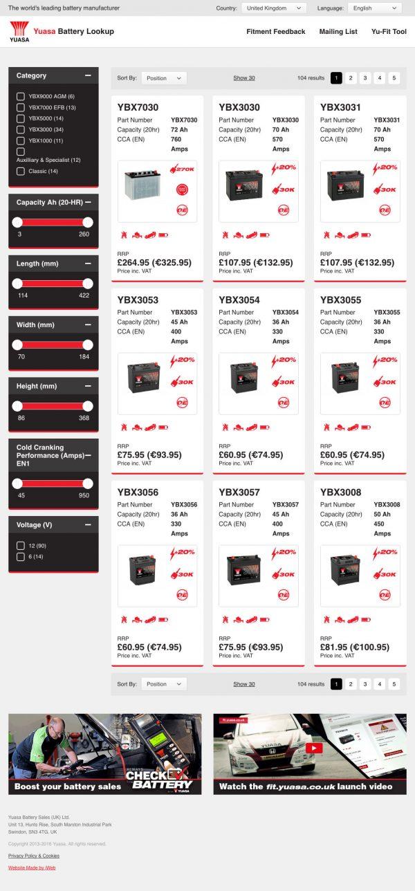 Yuasa Battery Lookup Magento B2B Case Study | iWeb Magento eCommerce Agency