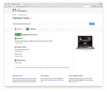 Screenshot of a Google PageSpeed Insights report