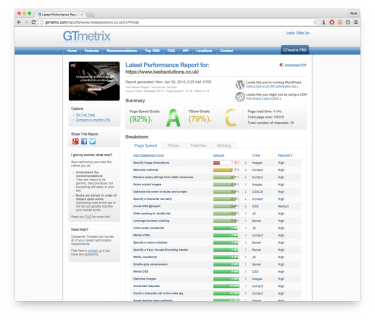 Screenshot of a GTmetrix report