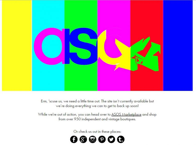 ASOS website down example message