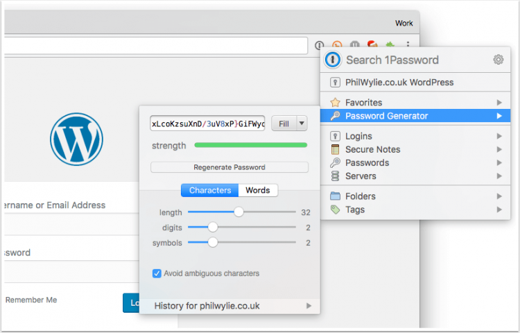 Generating strong passwords with 1Password
