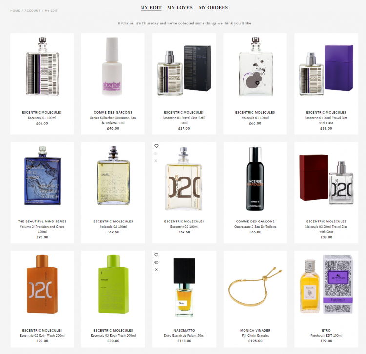 "Liberty of London's ""My Edit"" area of the online account"