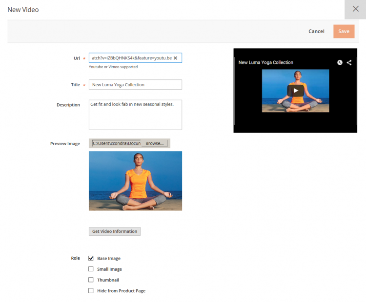 Magento product page videos