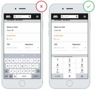 Mobile Checkout | Data Input Fields