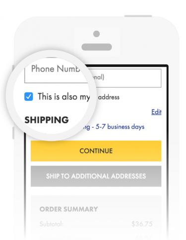Mobile Checkout   Select 'Same as billing address'