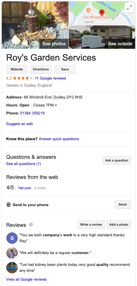 Google's Knowledge Panel Example Part 2