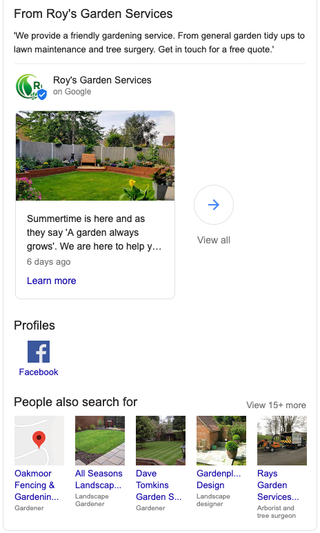 Example of Google's knowledge panel containing Customer Reviews for a Business.