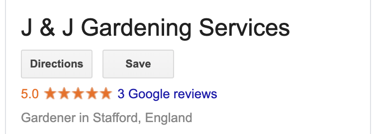 Example of Google's star rating system in action on desktop.