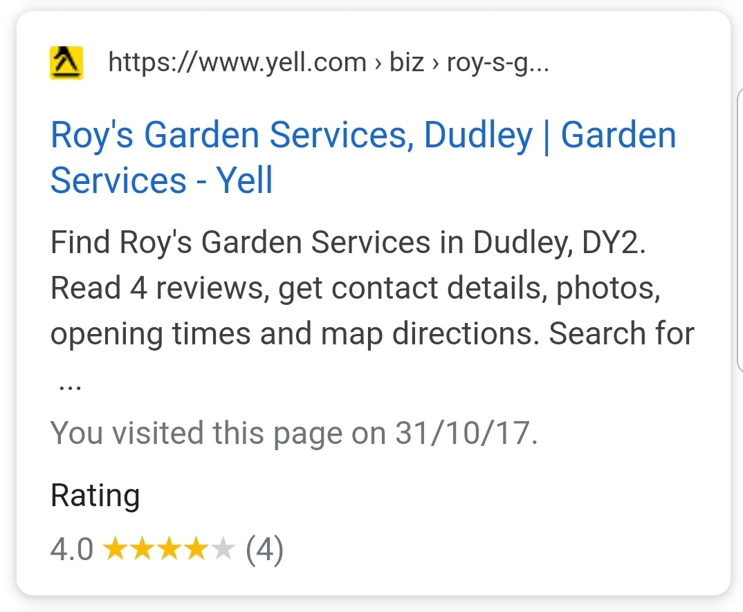 Example of Yell.com star ratings in mobile search results.