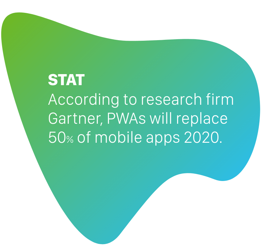 Stat: According to research firm Gartner, PWAs will replace 50% of mobile apps by 2020.